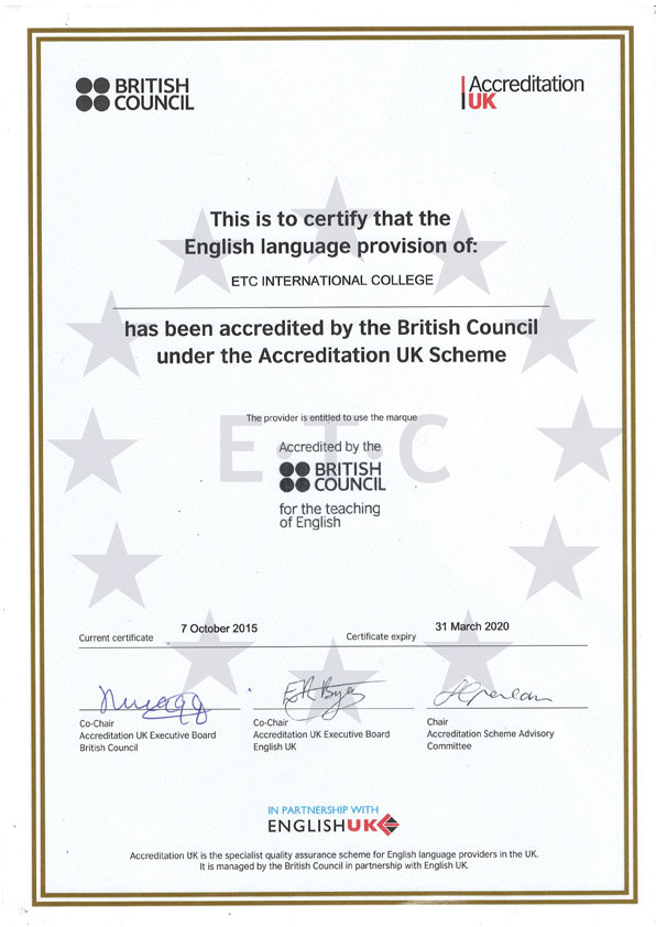 English Language School Bournemouth Etc International